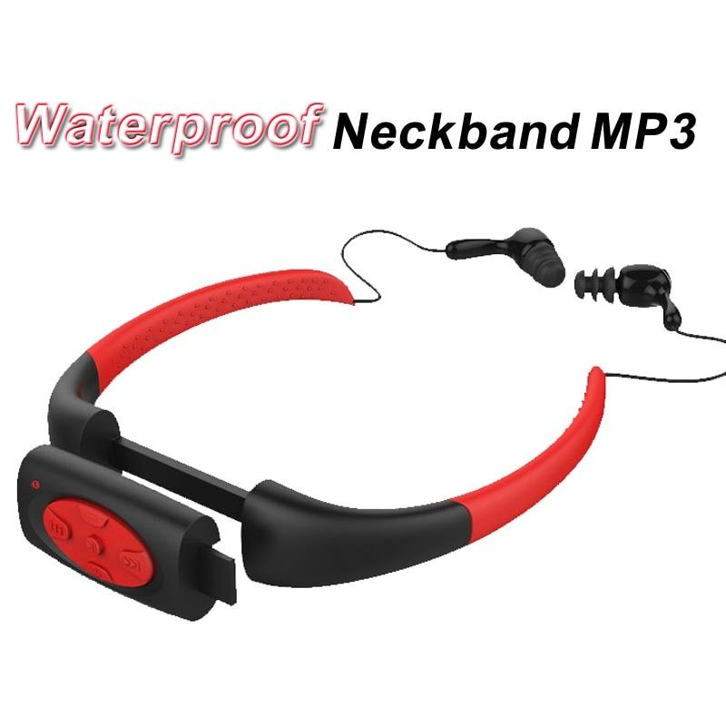 8GB 8G Waterproof MP3 IPX8 Music Player Underwater Sports Neckband Swimming Diving with FM Radio Earphone Stereo Headphone mp3