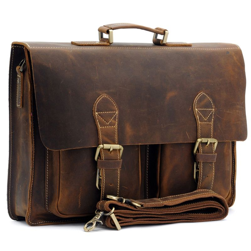 Top Grade Male Men's Vintage Real Crazy Horse Leather Briefcase Messenger <font><b>Shoulder</b></font> Portfolio Laptop Bag Case Office Handbag 1061