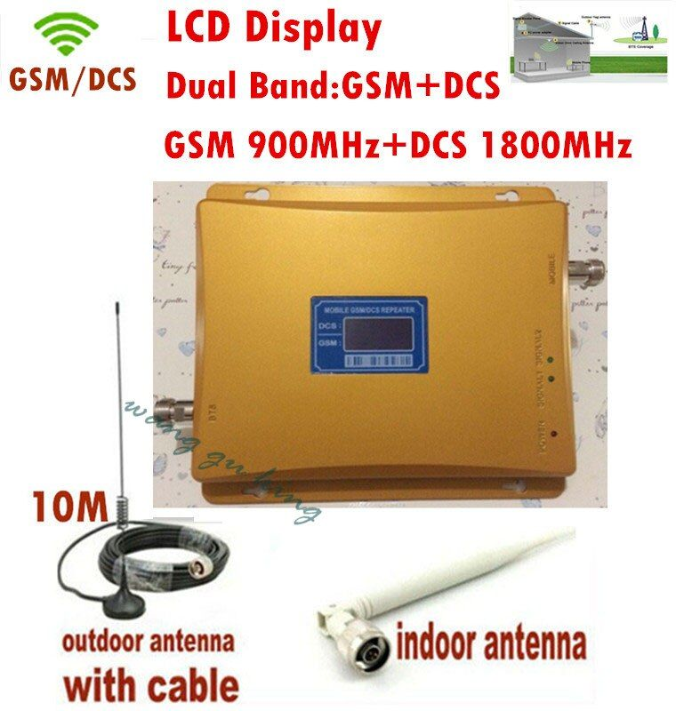 Écran LCD!! Amplificateur DCS répéteur GSM double bande GSM 900 MHZ et DCS 1800 mhz amplificateur DCS + antenne intérieure extérieure 1 ensembles