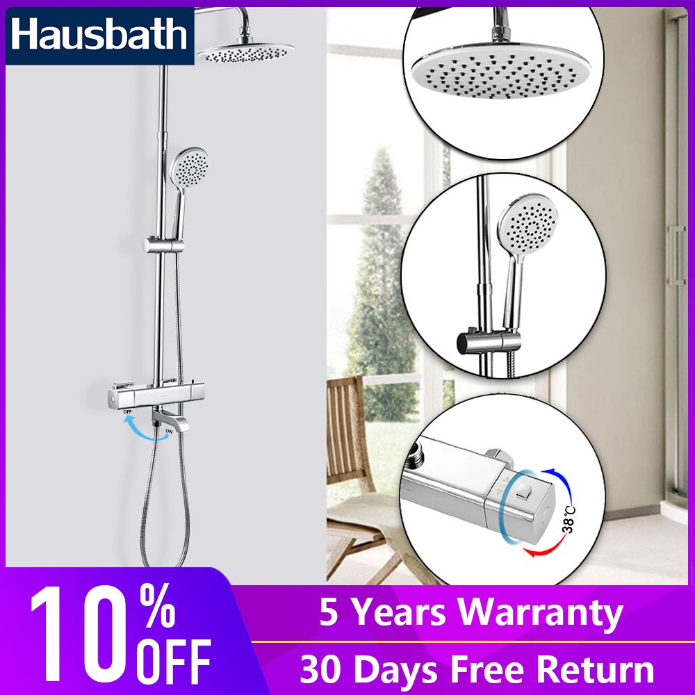 Bathroom Shower Faucets Set Thermostatic Tap Waterfall Jet Five Function Shower Bath Mixer Tap Hand Shower Head Slide Bar