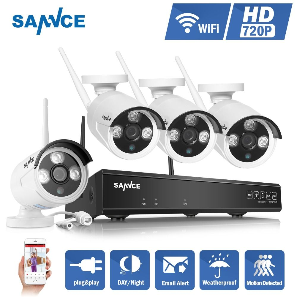 SANNCE NVR kits 4CH IR HD Home Security Wireless NVR Kits IP Camera 720P CCTV Set Wifi Cameras Video NVR Surveillance System