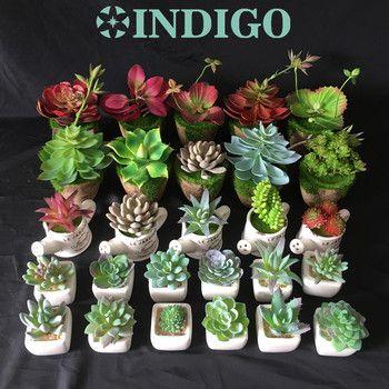 INDIGO-Mini FROSTLIKE Succulent Artificielle (1 set = 1 Usine + 1 Vase) Rempotage Ensemble En Plastique Fleur Table Plante Verte Livraison Gratuite