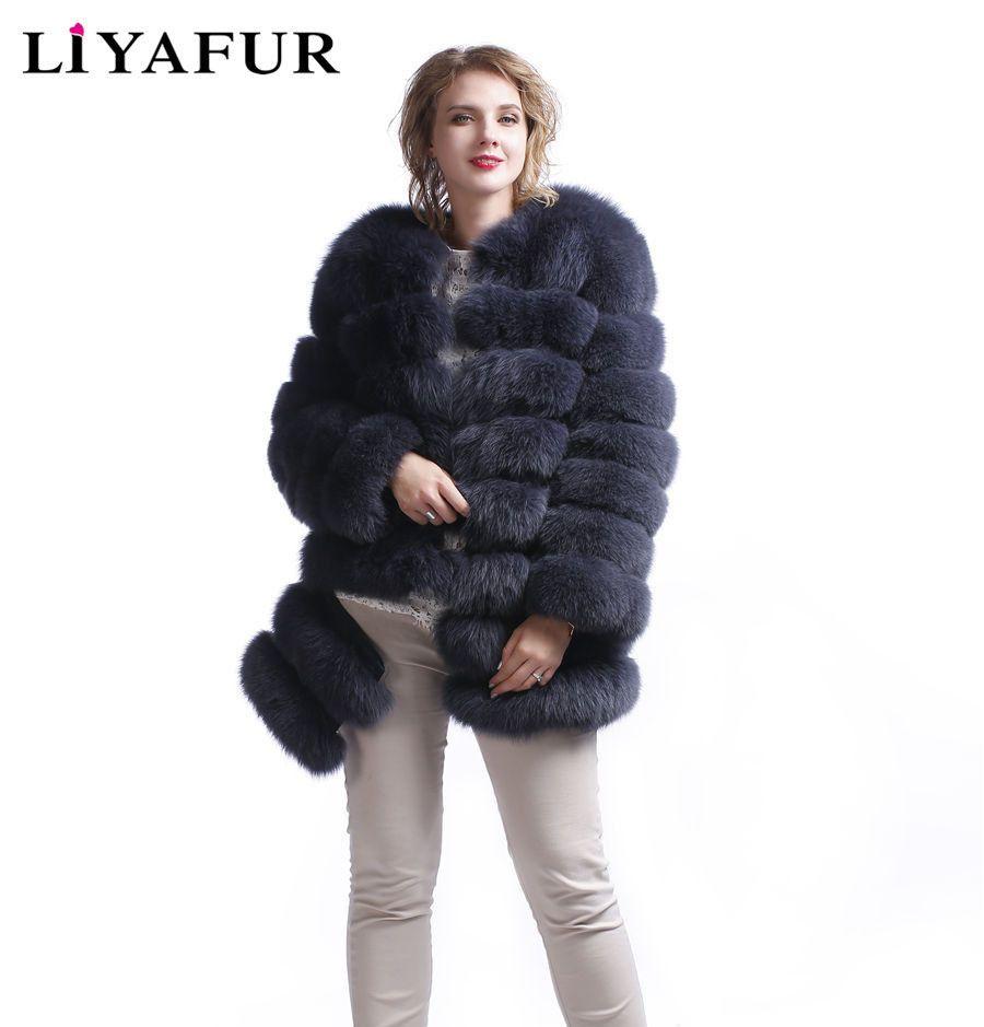 LIYAFUR 5 In 1 Neue Stil Realen Echten Fuchspelz Mantel für Frauen 100% Pelz Oberbekleidung Jacke Winter Warme Weste weste