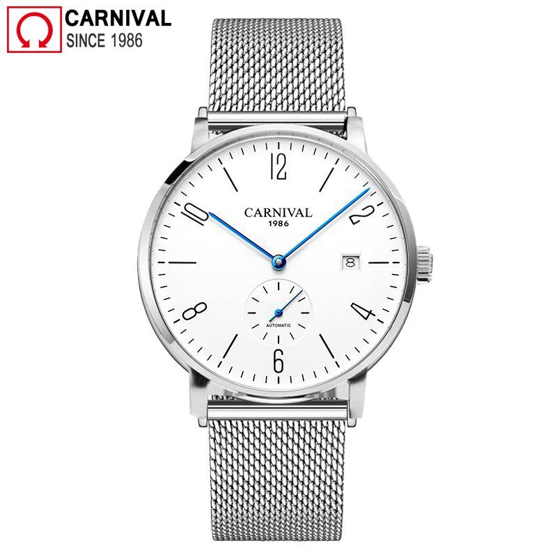 Carnival Ultra-thin 8MM Automatic Watch Men Simple Mechanical Watches Diver Waterproof Wrist Watch Mens Clock relogio masculino