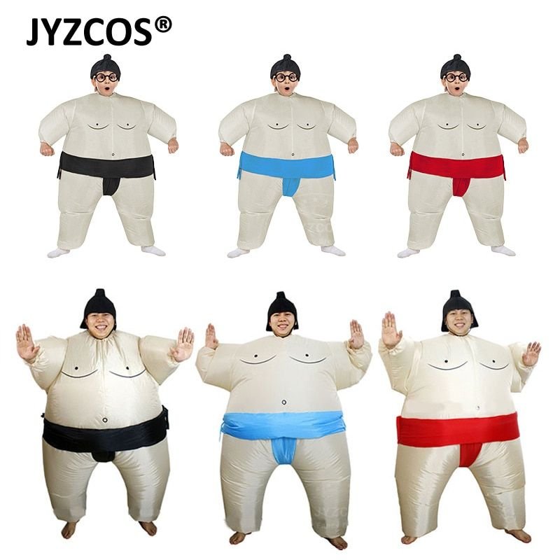 JYZCOS Purim Inflatable Sumo Costume Suits Wrestler Halloween Costume for Boys Girl Men Women Adults Kids Fat Man Airblown Sumo
