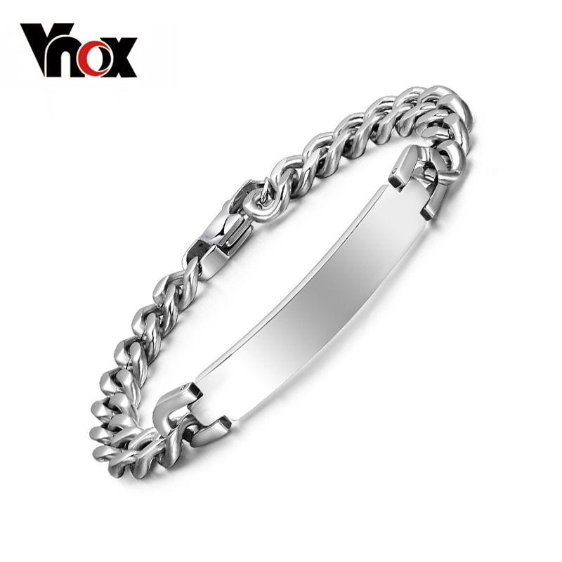 Vnox Free engraving 316l stainless steel bracelet & bangle for Women / Men ID bracelets jewelry never rust