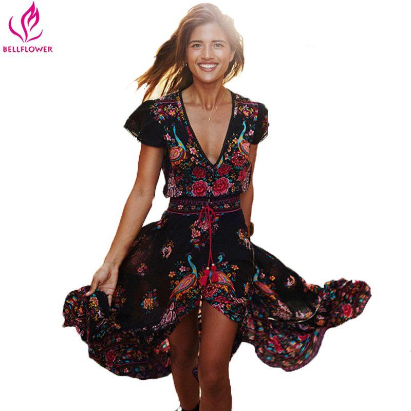 BellFlower été Boho Robe Etehnic Sexy imprimé rétro Vintage Robe gland plage Robe bohème Hippie Robe Vstidos Mujer