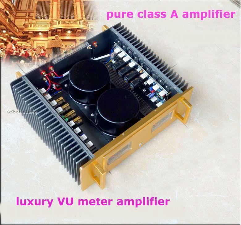 Luxus A60 beziehen Goldene hals pure class Ein doppel VU meter verstärker 2SC5200 2SA1943 transistoren