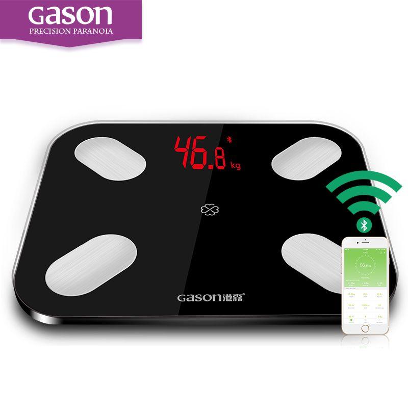 GASON S4 жира в теле масштаба Весы напольные Bluetooth 4.0 Android или IOS(14 данных)