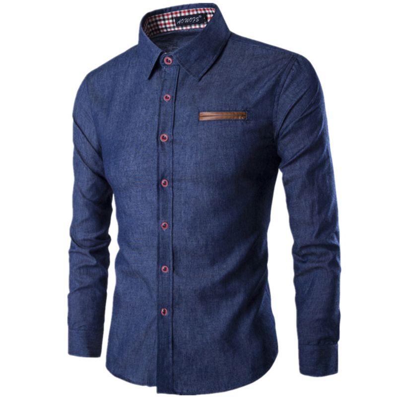 2017 New Fashion Brand Men Shirt Pocket Fight Leather Dress Shirt Long Sleeve Slim Fit Camisa Masculina Casual Male Shirts Model