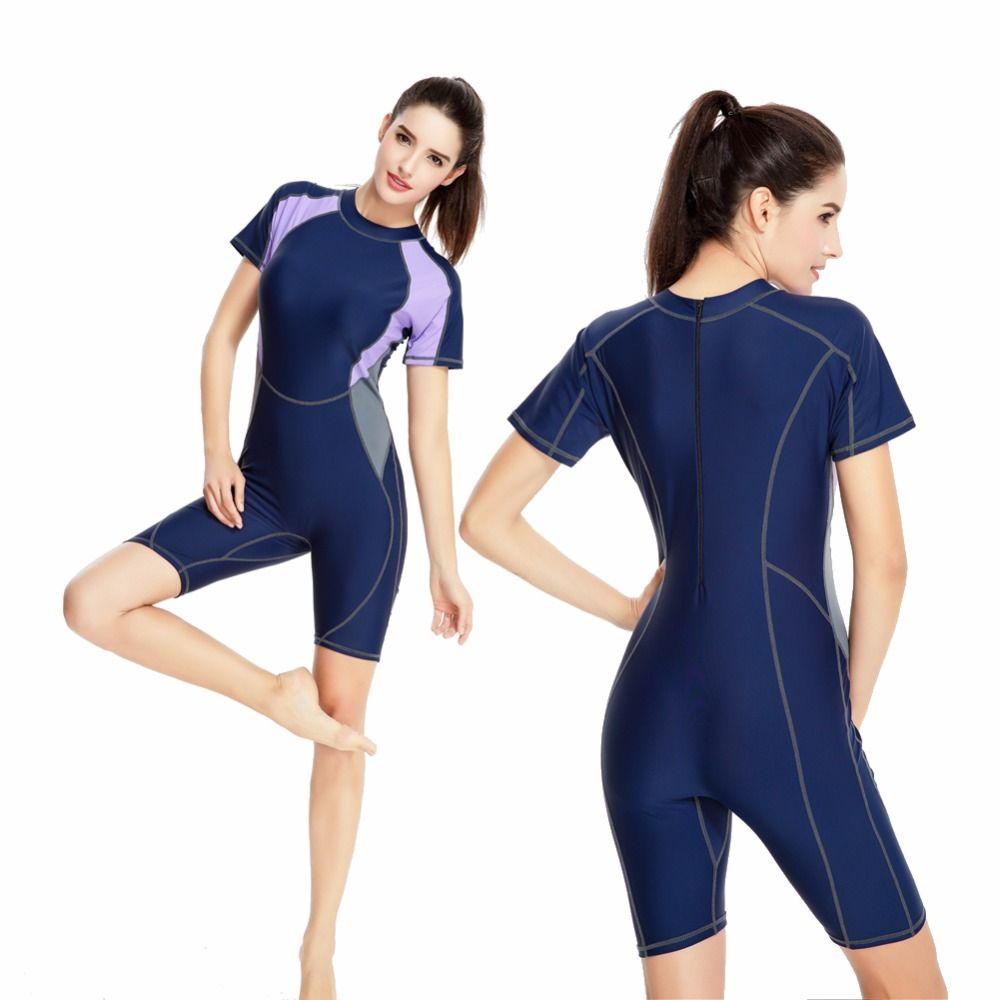 Manches courtes une pièce maillot de bain femmes maillots de bain mosaïque bleu profond Sport professionnel body femme plus grande taille maillot de bain