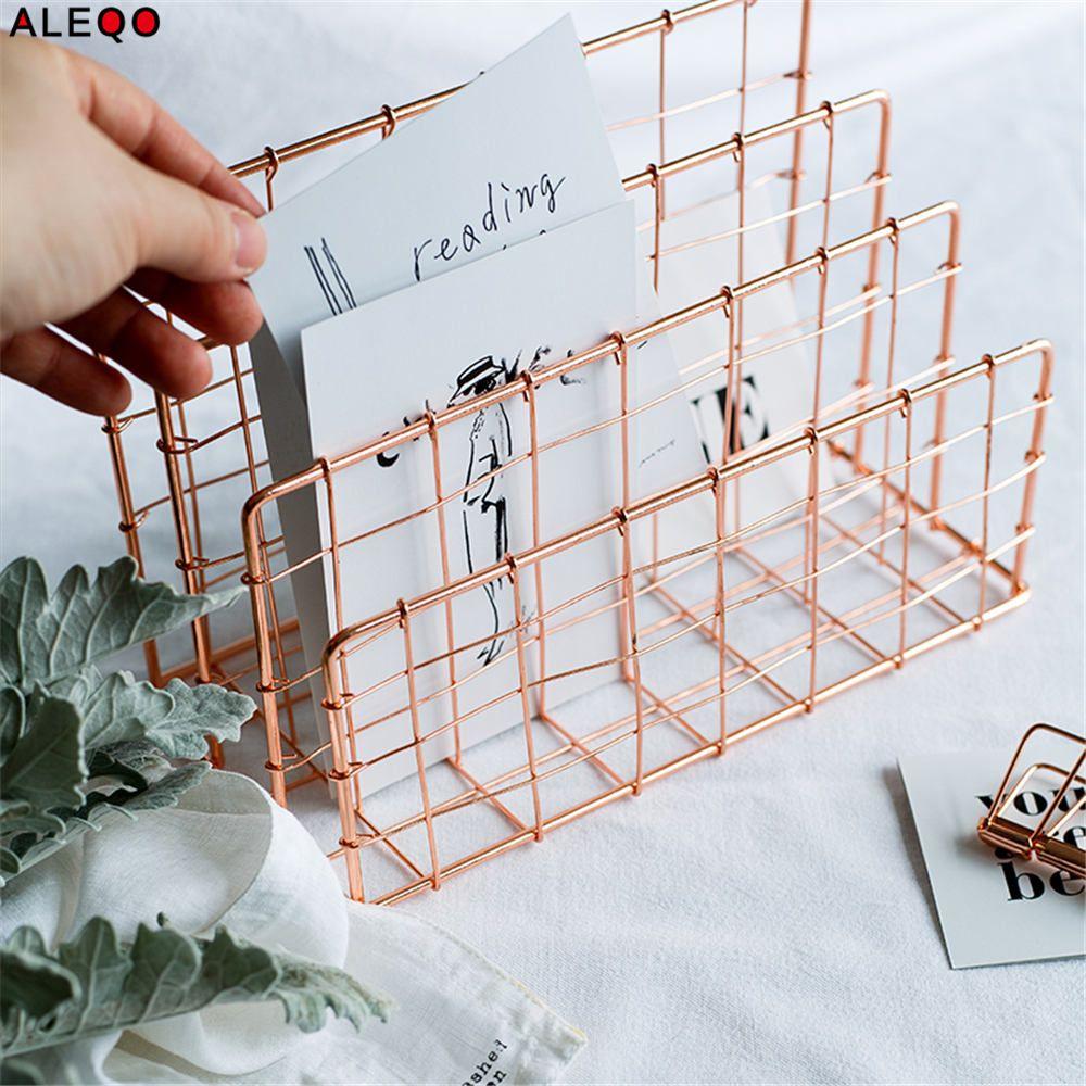 Metall Rose Gold Lagerung Korb Vogue Moderne Chic Nordic Graceful Net Eisen Schreibtisch Magazin Zeitung Buch Organizer Lagerung Korb