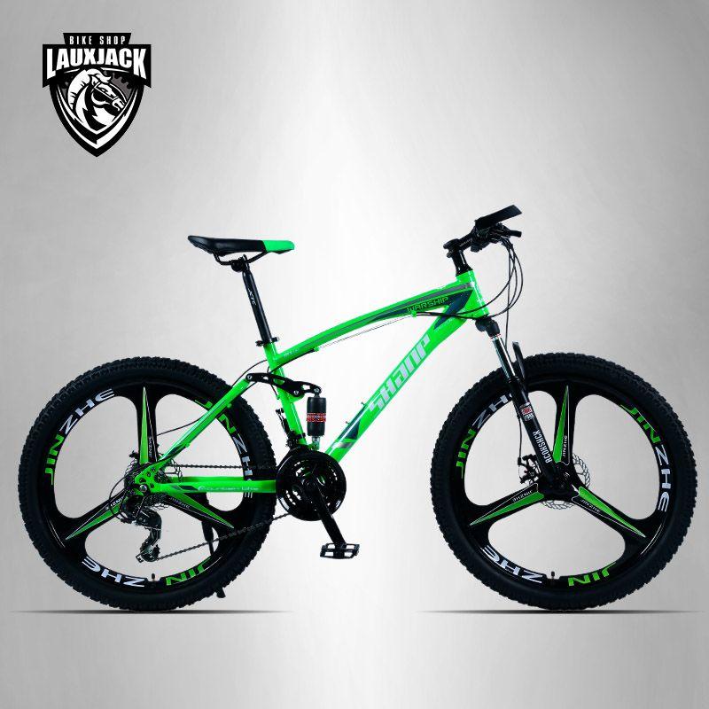 SHANP Mountain Bike Steel Frame Full Suspension Frame Mechanical Disc Brake 24 Speed Shimano 26