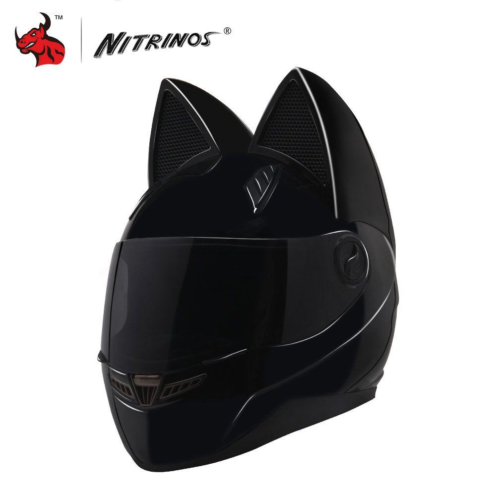 NITRINOS Motorcycle Helmet Women Personality Moto Capacete Black Cat Helmet Full Face Moto Helmet Fashion Motorbike Helmet