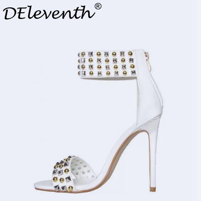 DEleventh Open Toe Rhinestone <font><b>Design</b></font> High Heel Sandals Rivet Zipper Ankle Wrap Gladiator Women Sandals Apricot Black White 35-40