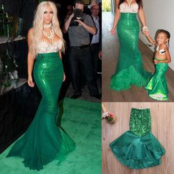 Princess Ladies kids girl Halloween cosplay Costume Fancy Party Sequins Maxi Tail long green Skirt adult Little Mermaid Ariel