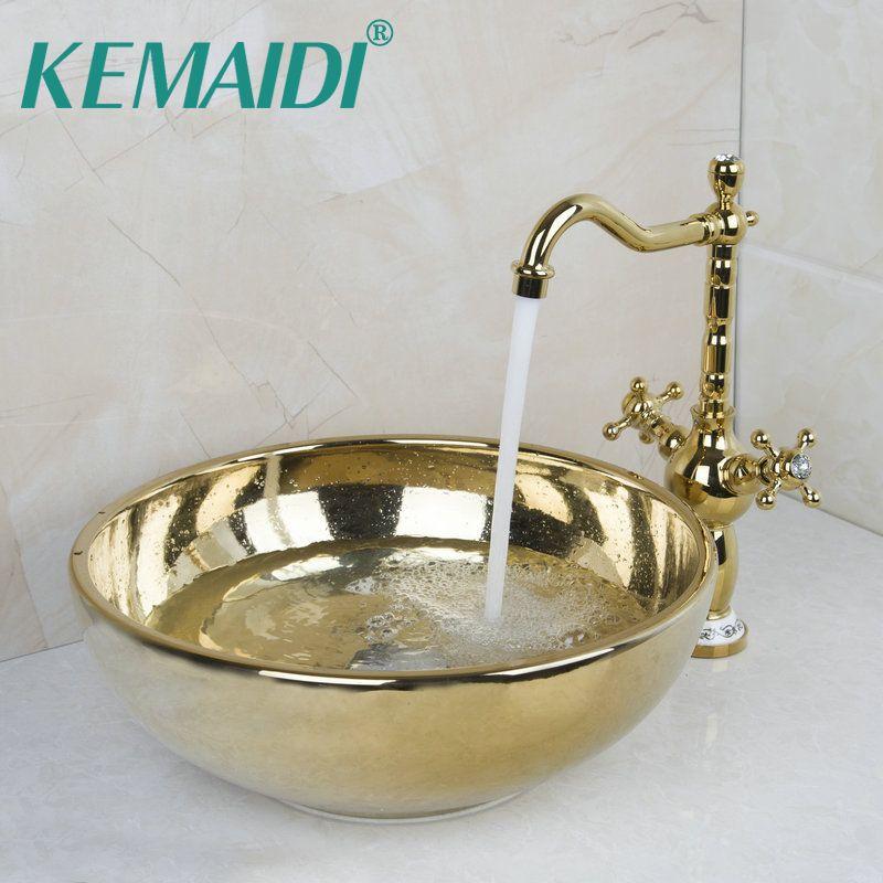KEMAIDI Paint Bowl Sinks / Vessel Basins With Washbasin Ceramic Basin Sink & Polished Golden Faucet Tap Set W/ Pop Up Drain