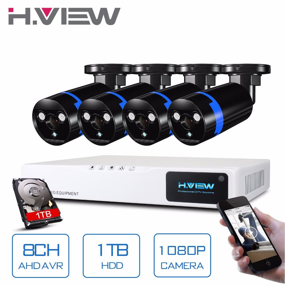 H.View <font><b>Security</b></font> Camera System 8ch CCTV System 4 x 1080P CCTV Camera Surveillance System Kit Camaras Seguridad Home 1TB HDD