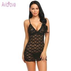 Avidlove floral Encaje erótica caliente de la muñeca vestido mujeres mini camisón traje del sexo porno Ropa interior exótica ropa