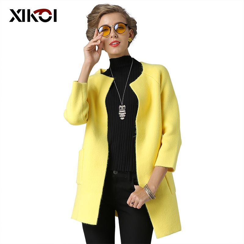 XIKOI 2018 Womens Knitted Cardigans Sweaters Fashion Casual O-Neck Open Stitch Thick With Pockets Woman Cardigan Coat