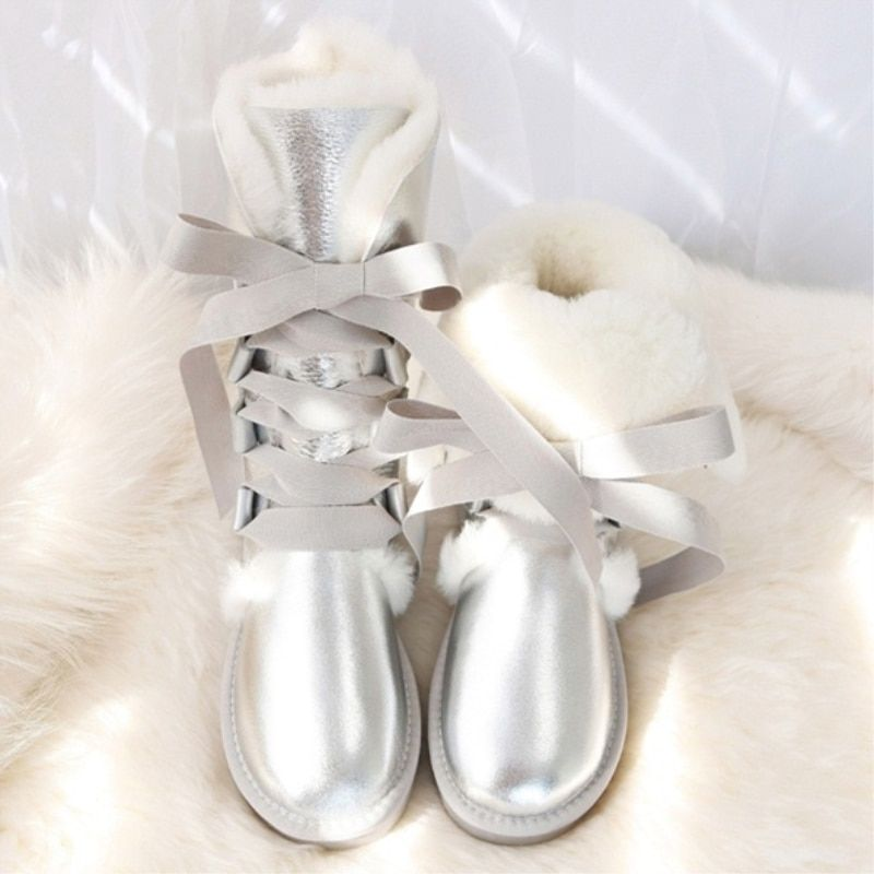 G&Zaco Luxury Natural Sheepskin Knee High Snow Boots Lace Up Natural Wool Sheep Fur Long Boots Sweet Girl Bow Flat Snow Boots