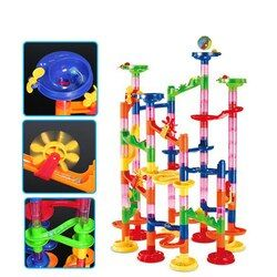 3D Model Blok Bangunan Konstruksi Marmer Run Bola Roller Coaster Mainan 105 Pcs Marmer Ras Run Maze Bola Mainan untuk anak-anak