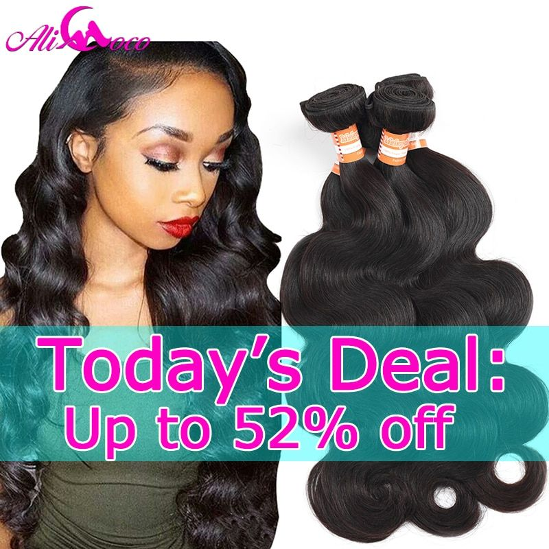 Ali Coco Malaysian Body Wave 4 Bundles 100% Human Hair Weave Bundles Non Remy Hair Free Shipping Machine Double Weft