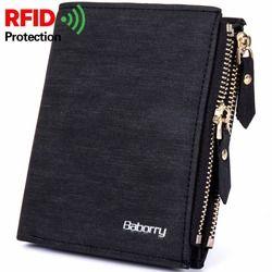RFID Antirrobo Protección de La Moneda Bolsa de cremallera de los hombres carteras de marca famosa mens wallet Carteras monederos masculinos Nuevo Diseño Superior de Los Hombres billetera