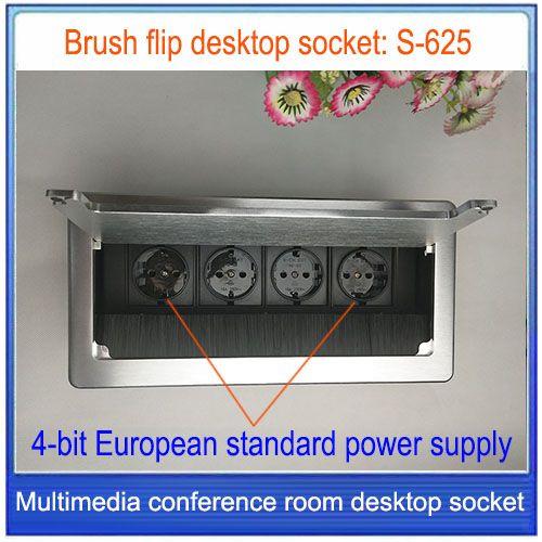 Euro plug/prise de bureau/en alliage d'aluminium prise, prise de courant standard Européen/Prise De Table/Peut être personnalisé prise S-625