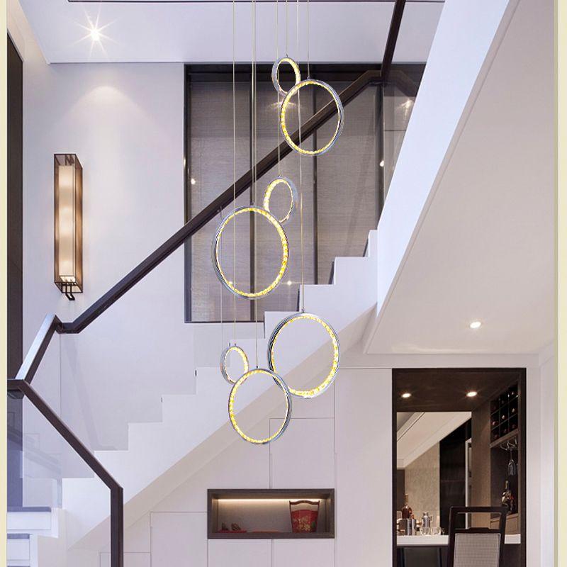 Moderne led kristall pendent licht mit 3 kreis ring ausgesetzt pendent lampe foyer hängen lampen Esszimmer Indoor hause Beleuchtung