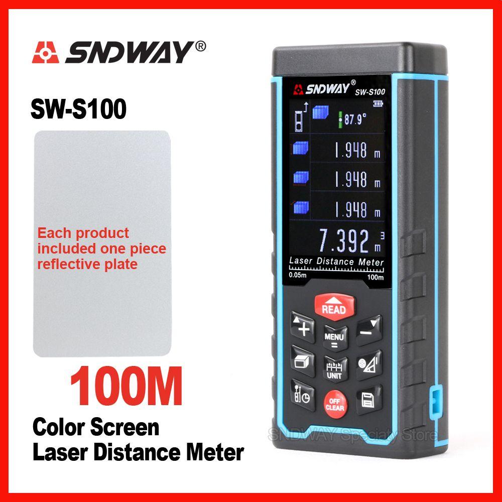 SNDWAY Original Color Screen Laser Distance Meter Range Finder Rangefinder SW-S50m 70m 100 Tape Trena Ruler Angle Bulid Tool