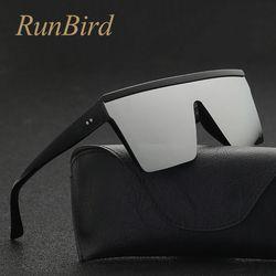Runbird marca moda negro One Piece Gafas de sol hombres oversize conducción fresca Sol Gafas cuadrado oculos masculino gafas 5121r