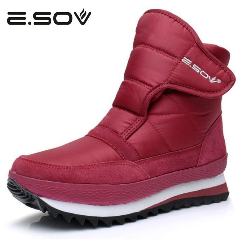 Esov Plus Size35-45 Women Boots Waterproof Platform Fur Female Warm Ankle Sneakers Snow Boot Woman Winter Women Cotton Shoes