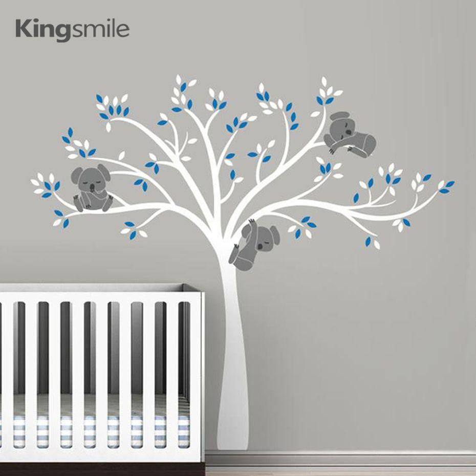 Koala famille sur arbre blanc branche vinyles Stickers muraux pépinière Stickers Art amovible Mural bébé enfants chambre autocollant décor à la maison
