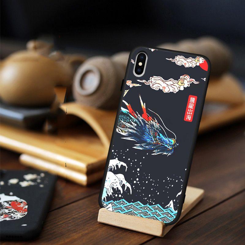 Pour iPhone 11 Pro Max 11 Pro XS XR X 10 8 7 6 6S Plus étui 3D Relief grue carpe Dragon motif doux antichoc coque arrière