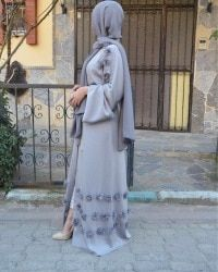Elegant adult Muslim Abaya Arab Turkish Singapore cardigan appliques Jilbab Dubai Muslims Women Dresses Islamic dress wj1248