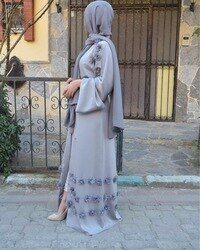 Elegante adulto abaya musulmán árabe turco Singapur Rebeca Appliques jilbab Dubai musulmanes mujeres Vestidos vestido islámico wj1248