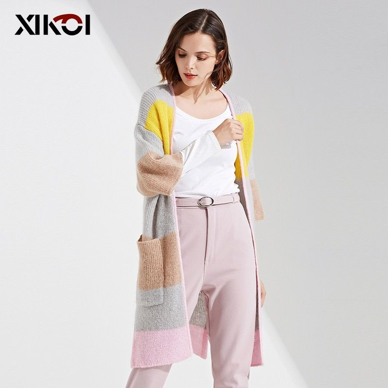 XIKOI New Women Spring Sweaters Cardigans Casual Fashion Pockets Lady Open Stitch Woman Long Cardigans Sweater Coat