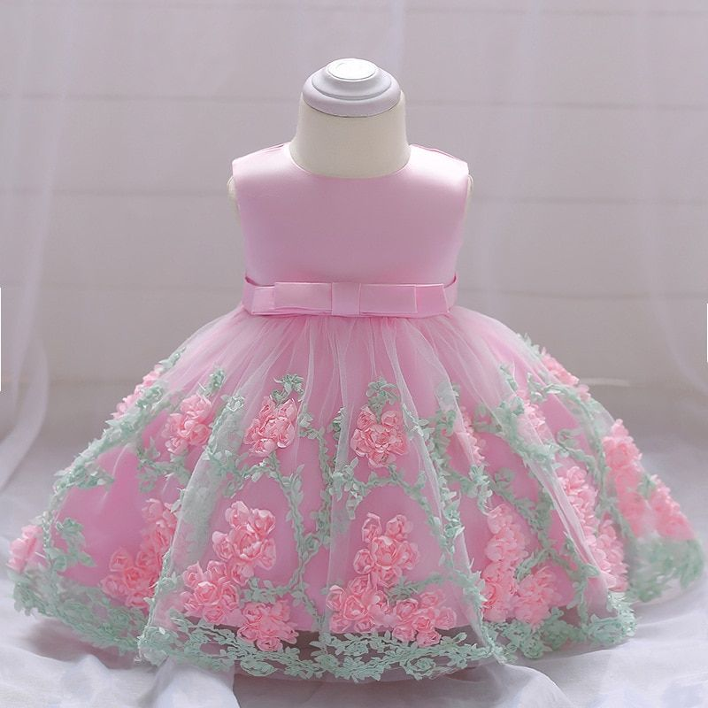 2018 vintage Baby Girl Dress Baptism Dresses for Girls 1st year <font><b>birthday</b></font> party wedding Christening baby infant clothing bebes