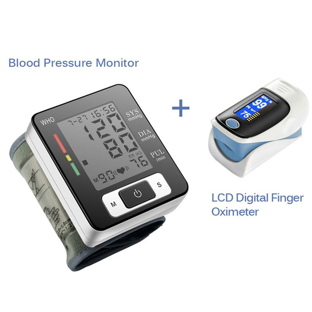 Digital Wrist <font><b>Blood</b></font> Pressure Monitor Portable Automatic Sphygmomanometer <font><b>Blood</b></font> Pressure Meter And LCD Digital Finger Oximeter