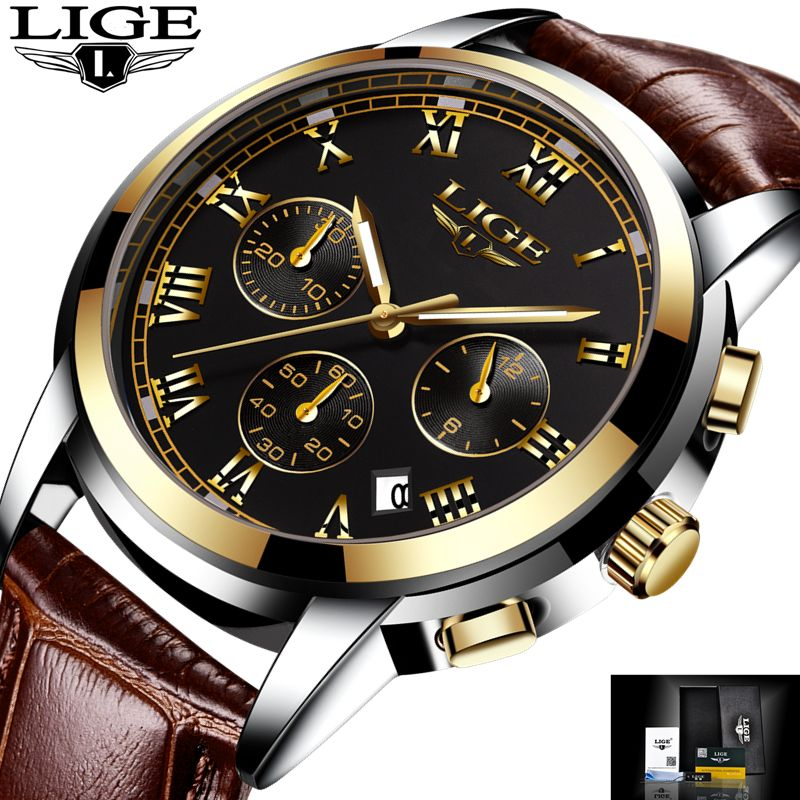 2017 New Watches Men Luxury Brand LIGE <font><b>Chronograph</b></font> Men Sports Watches Waterproof Leather Quartz Man Watch Mens Relogio Masculino