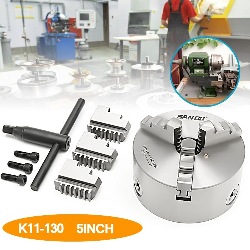 SANOU K11-130 130mm 3 Jaw Self Centering Lathe Chuck with Key Hard Solid Hexagon wrench Mounting screws for CNC Drilling Milling