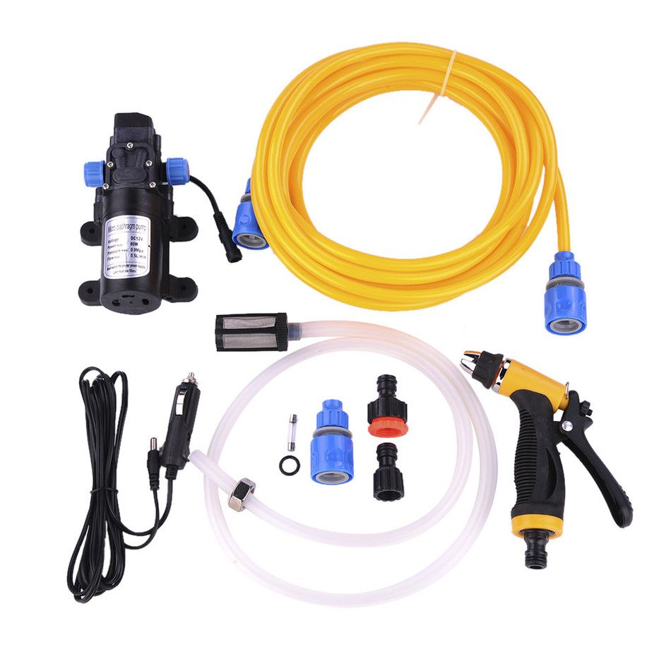 80W Intellighent High Pressure Vehicle-mounted 12V Car Wash Washer Set Portable Cigarette Lighter Powered Car Washing Machine