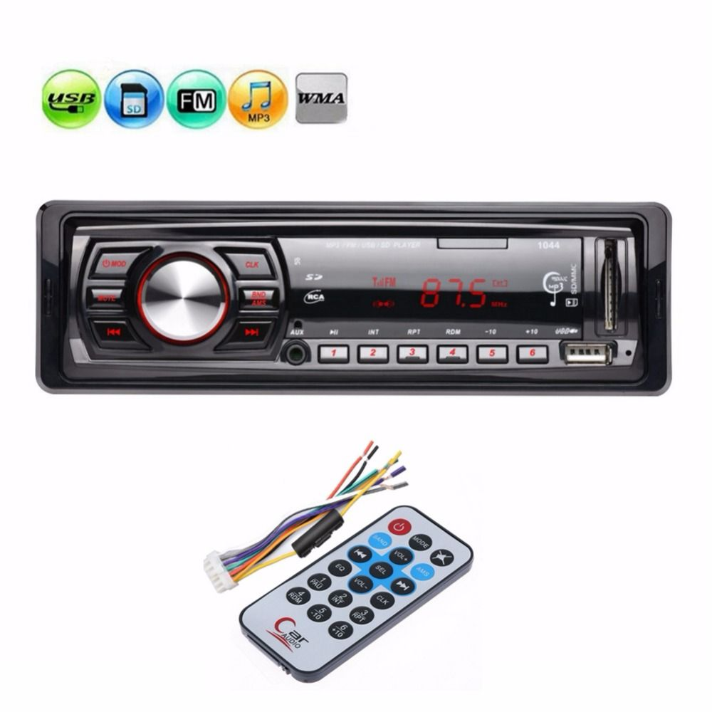 12V In-dash 1 Din Car Radio Stereo Audio MP3 Player FM Aux Receiver Support USB / SD / MMC Card <font><b>Remote</b></font> Control Autoradio