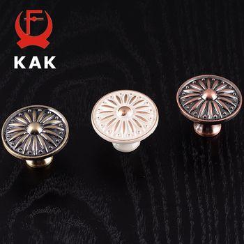 KAK Rétro Rouge Bronze Cuisine Cabinet Boutons de Portes D'armoires Poignées En Alliage de Zinc Vintage Armoire Meubles Poignée Poignées de Tiroir