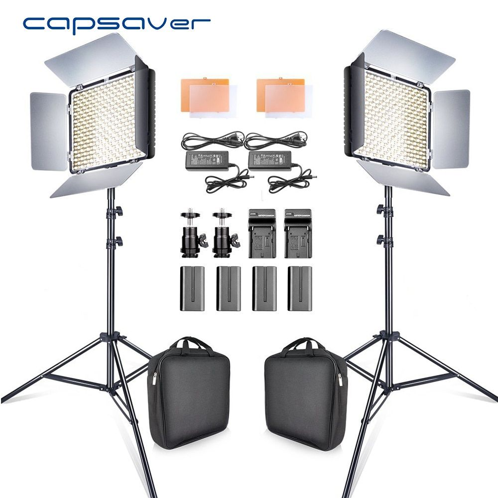 capsaver 2 in 1 Kit LED Video Light Studio Photo LED Panel Photographic Lighting with Tripod Bag Battery 600 LED 5500K CRI 90