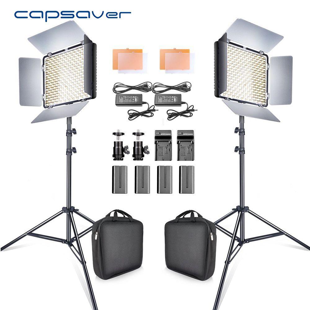 capsaver 2 in 1 Kit LED Video Light Studio Photo LED Panel Photographic Lighting with Tripod Bag Battery 600 LED 5500K CRI 90