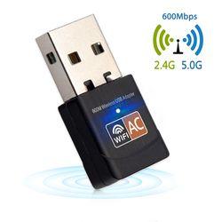 600 Mbps adaptador USB WiFi 2,4 GHz 5 GHz antena WiFi PC Mini tarjeta de red inalámbrica receptor de banda Dual 802.11b/n/g/ac