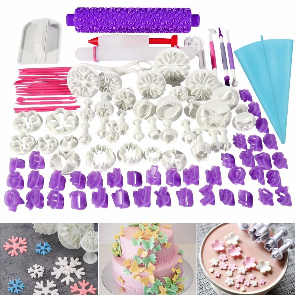 Facemile 94pcs Cake Decorating Tools Plunger Fondant Cake Pastry Cutters Baking Tools Dough Roller Rolling Pin Full Set