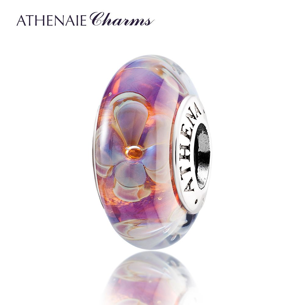 ATHENAIE Genuine Murano Glass 925 Silver <font><b>Core</b></font> Five-Petaled Flowers Charms Beads Fit Pandora Bracelets and Necklaces Color Purple